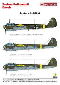 Junkers Ju-88A4 72139 Techmod decals