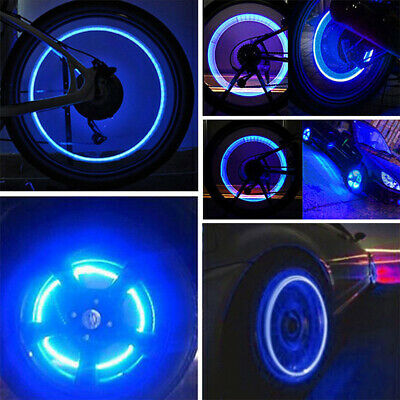 4X Bicycle Bike Car Moto plug LED Flash Tire Wheel Valve Cap Light Neon Blue X4