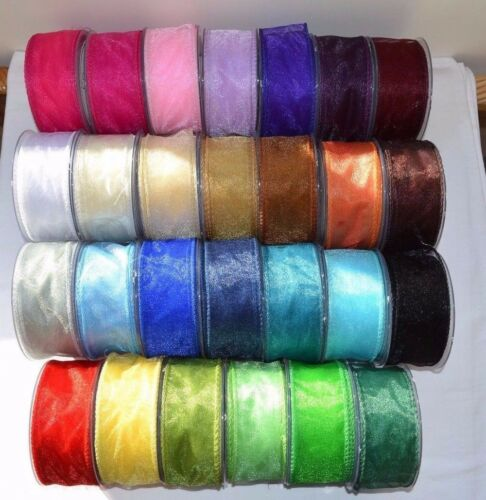 50mm x 20m 10mm x 50 yards. Gold Organza Ribbon Full Reel or Cut Lengths