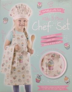 Childs Three Piece Chef Set White Multi Apron Hat Tea Towel Sprinkled With Love Ebay