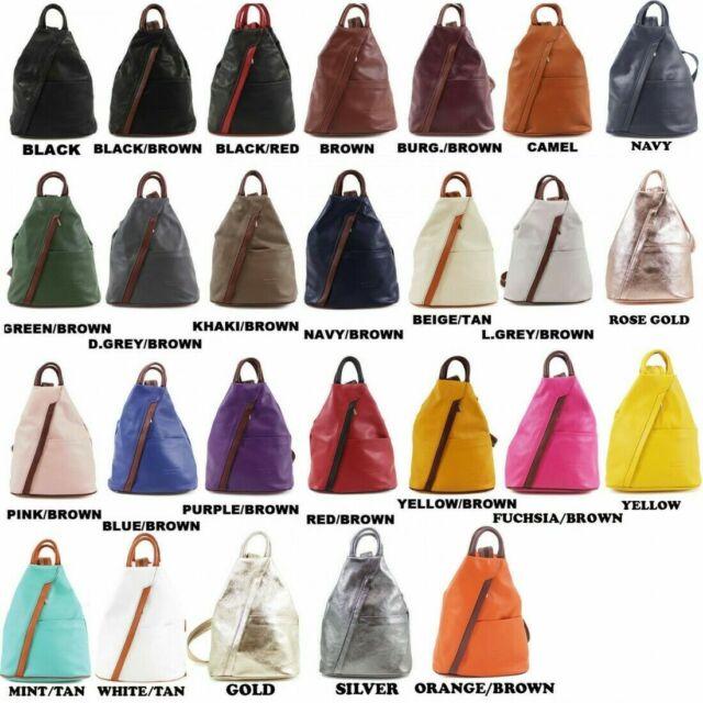 New Unique Design Soft Real Leather Vera Pelle Stamp Ladies Rucksack