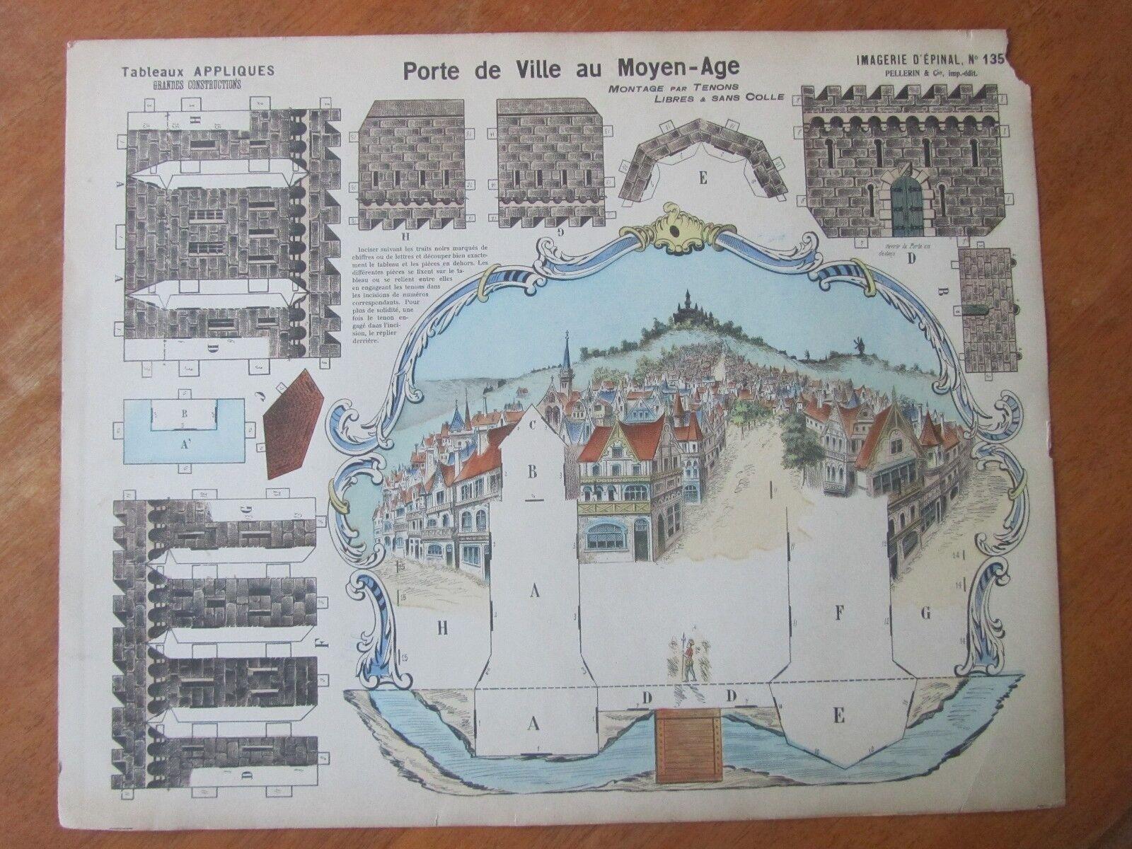 ANCIEN DECOUPAGE MAQUETTE PORTE VILLE AU MOYEN AGE IMAGERIE EPINAL PELLERIN
