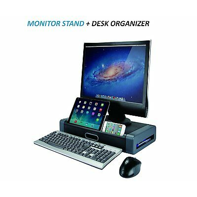 AIDATA Deluxe Monitor Stand with Space Saving Drawer and Phone/Tablet Slot