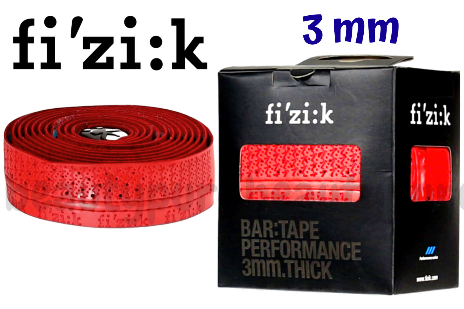 Fizik Performance Tacky Touch 3mm Cycling Bar Tape Red w// Logos New
