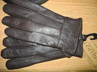 Mens Brown Soft Leather Gloves 40 Gram 3M Thinsulate Insulation