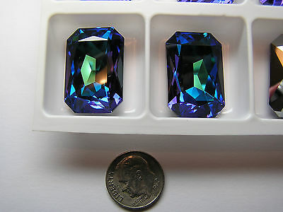 24 PIECES SWAROVSKI CRYSTAL STONES #4627 27x18MM - CRYSTAL HELIOTROPE - UNFOILED