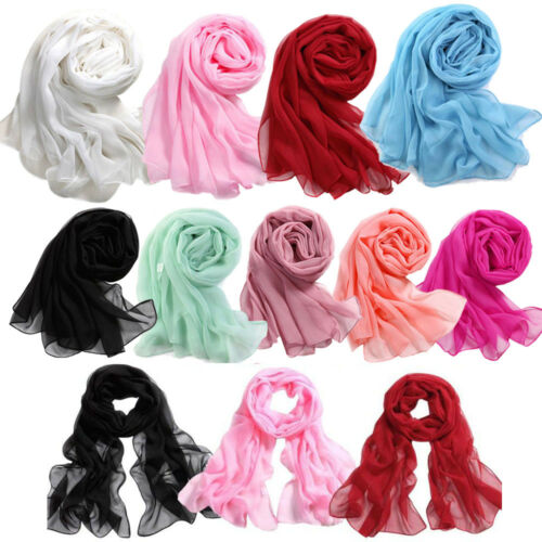 Lady Women/'s Chiffon Solid Shawl Wrap Scarves Long Wraps Shawl Beach Silk Scarf