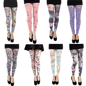 5686afe068c88 Pamela Mann Plus Size Printed Footless Tights XL XXL XXXL Sizes 16 ...