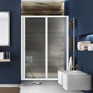Box doccia in pvc porta per nicchia scorrevole 150 cm profilo bianco riducibile ebay - Porta cabina doccia ...