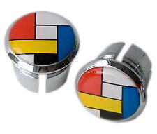 La Vie Claire Mondrian Handlebar Chrome Plastic Bar End Plugs, Bungs L'Eroica