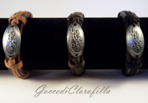 Bracciale tribale Gekko gecko vero cuoio pelle uomo donna bracciali handmade