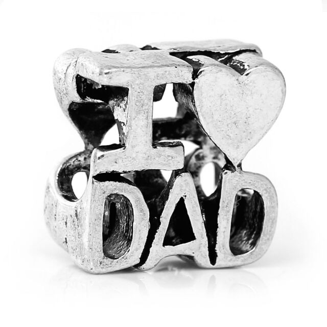I Heart Dad Love Father Family Spacer Bead for Silver European Charm Bracelets
