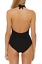 Red-Carter-Size-S-6-Black-Deep-V-Halter-1-Piece-Ruched-Maillot-Swimsuit-NWT-140 miniature 2