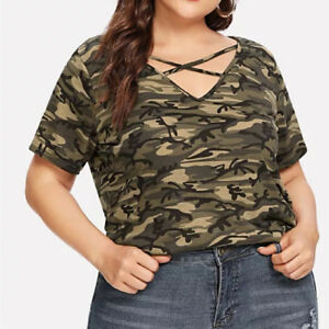 f5676baf3dae2 Fashion Women Plus Size Camouflage Tops V-Neck Hollow Out Casual T ...