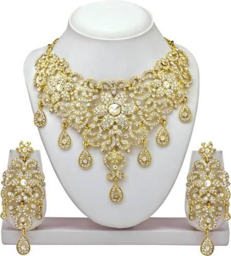 Indian Bollywood Bridal Necklace Gold Tone Set Designer Fashion Wedding Jewelry