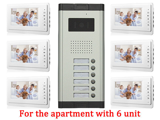 Apartment 6 Unit Intercom Entry System Wired Video Door Phone Audio ...