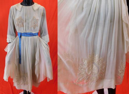 Vintage Robe de Style Cream Chiffon Silk Soutache