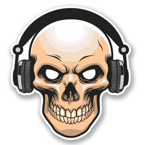 2 x Skull with Headphones Vinyl Sticker Laptop Travel Luggage #4567