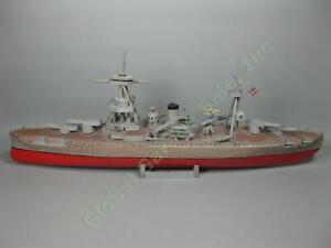 RARE-WWII-Trench-Art-36-034-Hand-Carved-Wood-US-USN-Navy-Battleship-Cruiser-3-Model