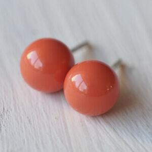 Nouveau-Argent-925-boucles-d-039-oreille-8-mm-Swarovski-Perles-a-Coral-Korall-rouge-boucles-d-039