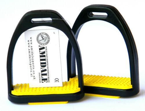 POLYMER STIRRUPS BLACK WITH DIFFERENT COLOURS TREADS BY AMIDALE BNWT