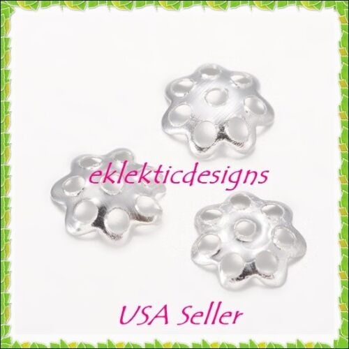 200pcs 6mm Silver Plated 7P Flower Bead Caps Jewelry Findings Earrings Necklace