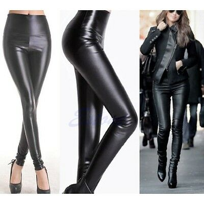Lady High Waisted Women's Sexy Faux Leather Skinny Stretch Pants Slim Leggings