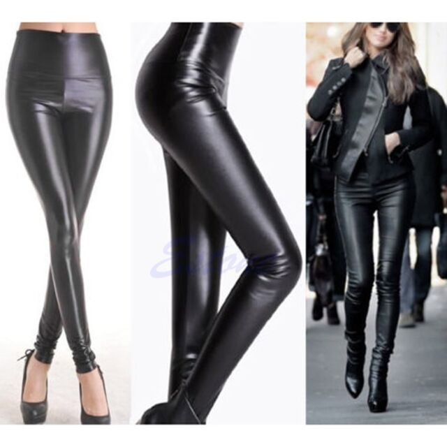 988418851ebe Womens Faux Leather Black LOOK High Waist Leggings Stretch SKINNY Pants  Legging   eBay