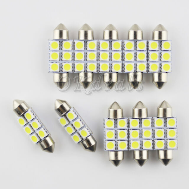 10X Festoon 36mm 3W 270lm 6-SMD 5050 LED White Light Car License Plate Lamp 12V