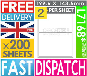 200-SHEETS-2-PER-SHEET-A4-SELF-ADHESIVE-PRINTER-ADDRESS-LABELS-L7168