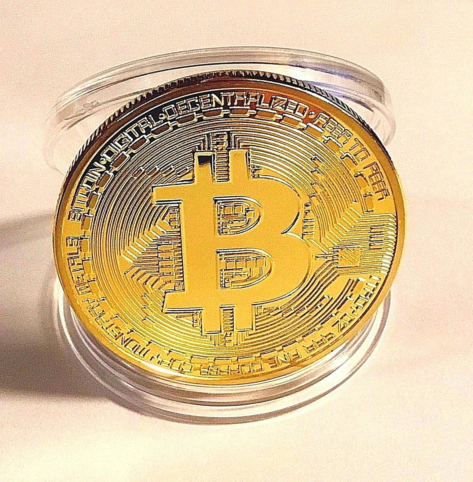 HOT!RARE! GOLD PLATED PHYSICAL BITCOIN IN PROTECTIVE ACRYLIC CASE FAST SHIPPING