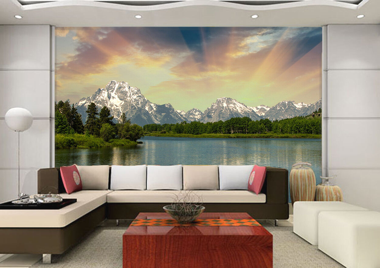 3D sunlight mountain lake Wall Paper Print Decal Wall Deco Indoor wall Mural