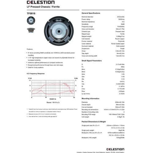 "Pair Celestion TF0818 8/"" Professional Speaker 8 ohms 200W 94 dB 1.75/"" Coil"