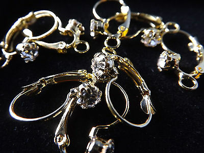 Rhinestone Gold/Silver Plated French Earring Hooks Findings making jewelry Diy