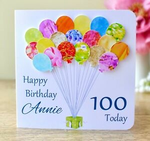 Image Is Loading Personalised 100th Birthday Card Age 100 Handmade