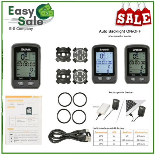 IGPSPORT Cycle GPS IGS20E Speedometer Bicycle Bike Computer USB Recharge T0G1