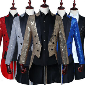 store for sale 100% top quality Details about Mens Glitter Sequin Magician Tuxedo Tailcoat Suit Wedding  Jacket Prom Costume