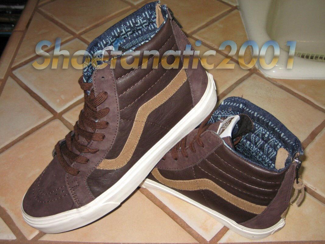 Vans CA Sample SK8 Hi Zip Leather Nubuck Coffee Bean Brown 9 Syndicate Supreme