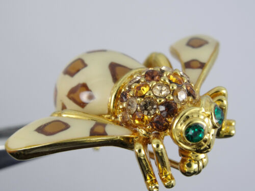 Details about  /RARE JOAN RIVERS JOAN OF THE JUNGLE LEOPARD BEE BROOCH PIN W// GREEN CRYSTAL EYES