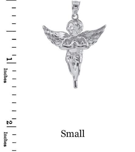 14k White Gold Diamond Cut Angel Small Pendant