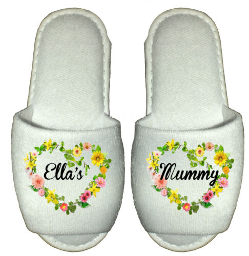 custom flowers hearts mummy nanny mom mam Best Nan Mum Personalised Slippers