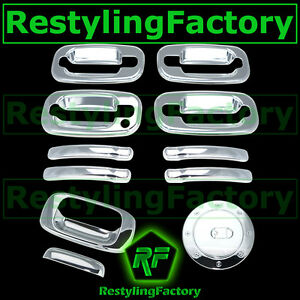 99-06-Chevy-Silverado-Chrome-4-Door-Handle-W-O-PSG-Keyhole-Tailgate-Gas-Cover