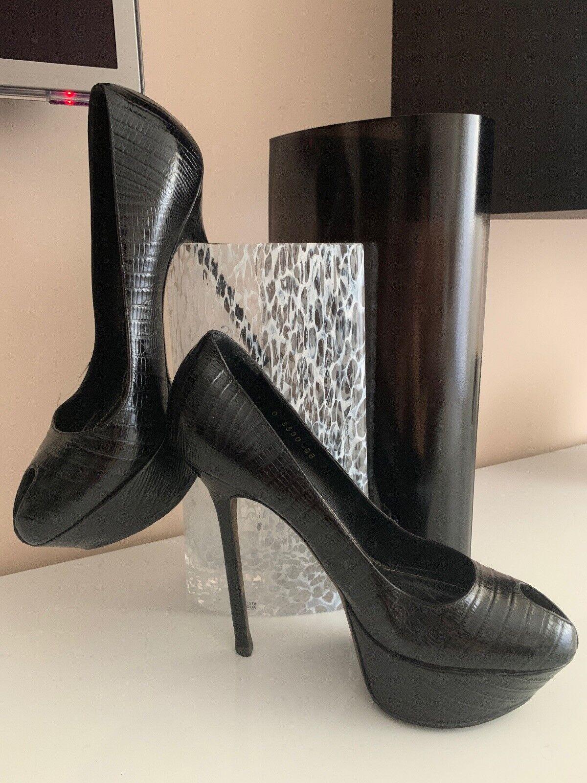 Sergio Rossi Peep Toe  Platform Heels Pumps Snake Python Taille 38.5