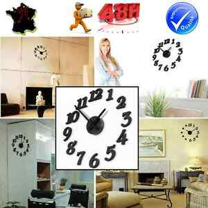 horloge murale pendule decoration adhesif stickers design. Black Bedroom Furniture Sets. Home Design Ideas