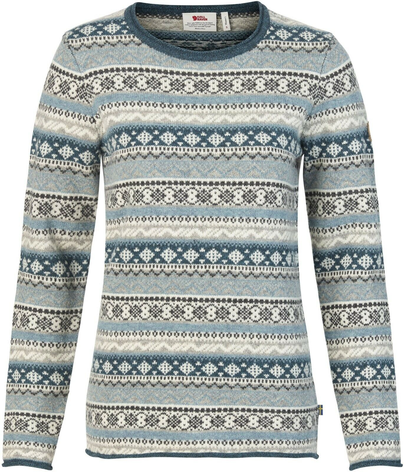 Fjäll Räven Övik Folk Knit Sweater Woman Gr. XL Frost Grün 89770