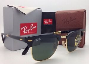 New RAY-BAN CLUBMASTER Folding Sunglasses RB 2176 901 51-21 Black ... 1018bb22dc