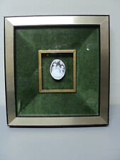 """BEAUTIFUL 19th C. ANTIQUE CARVED SHELL CAMEO """"MAIDEN & CHERUB"""", SHADOWBOX FRAME"""