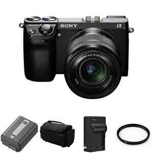 Sony-Alpha-NEX-7-Digital-Camera-w-18-55mm-Lens-Black-2-Batteries-UV-Filter