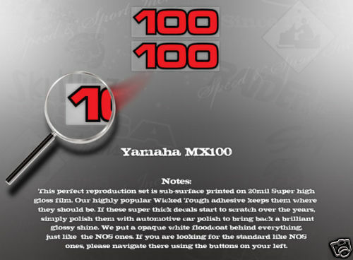 WICKED TOUGH YAMAHA MX100 100 SIDE COVER DECAL GRAPHIC