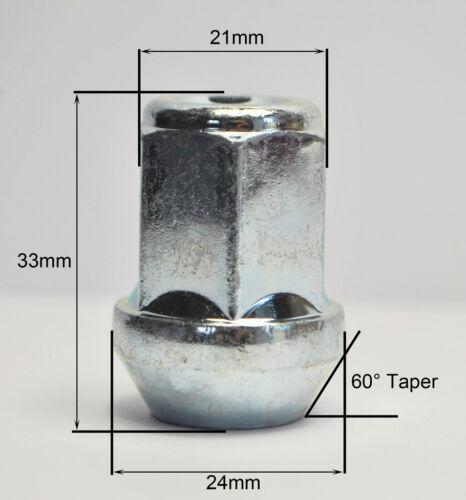 zinco 21mm Hex Alloy Dadi Delle Ruote 4 x m12 x 1.5